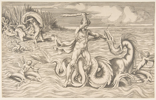 Man Fighting Sea Monster